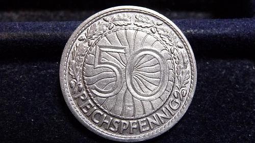 1928-F GERMANY 50 PFENNIG COIN IN XF/AU CONDITION  C-13-21