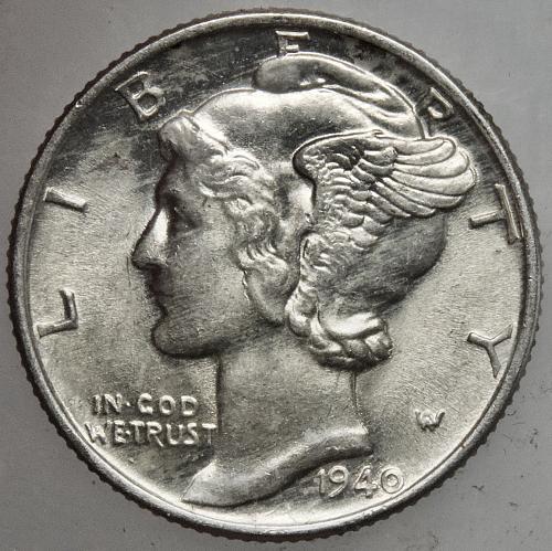 1940 P Mercury Dime#6 FULL BANDS
