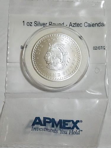 Aztec Calendar Aztec Emperor Cuauhtemoc 1 Oz .999 Pure Silver Bullion 1 TROY Oun