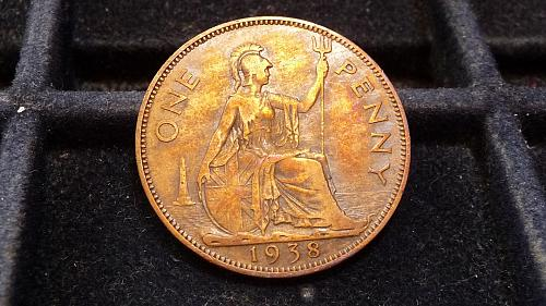 1938 GREAT BRITAIN LARGE PENNY IN VERY FINE CONDITION  C-14-21