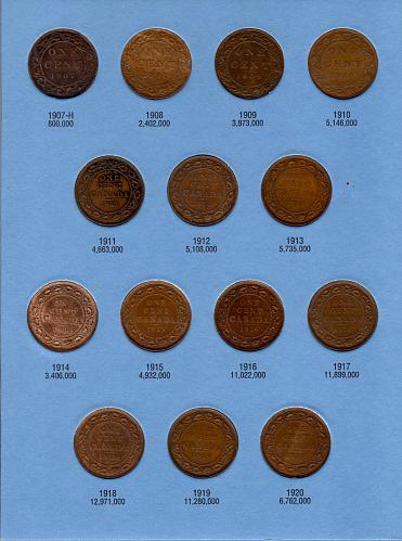 1858 to 1920 CANADA LARGE CENT COMPLETE COLLECTION