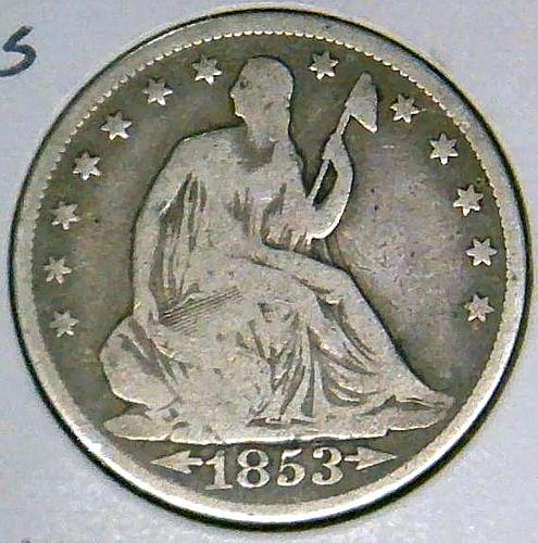 1853 Seated Liberty Half Dollars : Rays on Reverse Type 2 - Arrows at Date V3P3R
