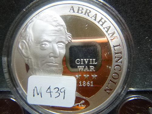 ABRAHAM LINCOLN CIVIL WAR 1861 COMMANDER IN CHIEF SLIVER PLATED COIN
