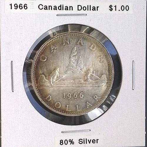 1966 Canadian Dollar - Attractive Toning on Obverse and Reverse - 4 Photos!