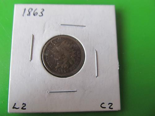 1863 P Copper Nickel Indian Head Cent