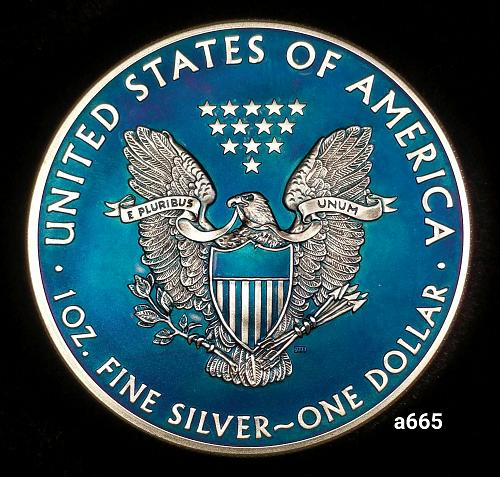2014 Rainbow Toned Silver American Eagle 1 troy ounce silver Monster toned #a665