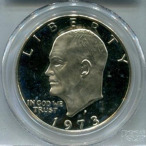 "1973 - S  Eisenhower Dollar  "" SILVER ""  PCGS  PR68DCAM"