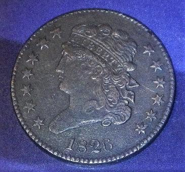 1826-P  Classic Head Half cent  XF