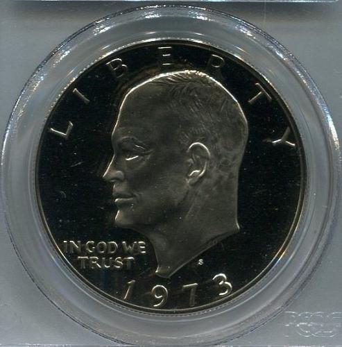 """1973 - S  Eisenhower Dollar   """"Clad""""   PCGS     PR68DCAM"""