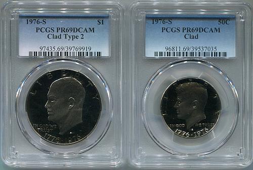 "1976-S  IKE Dollar  ""Clad - Type 2"" &  Kennedy .50 ""Clad""  PCGS   PR 69 DCAM"