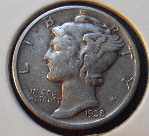 1938 P Mercury Silver Dime (38PEW1)
