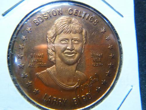 BOSTON CELTICS LARRY BIRD 3 TIME NBA MVP 8 TIME ALL-STAR GOLD PLATED COIN