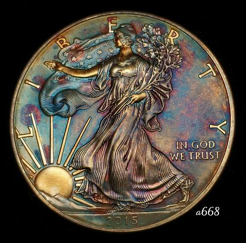 2015 Rainbow Toned Silver American Eagle 1 troy ounce silver Monster toned #a668