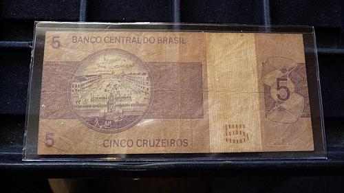 BANCO CENTRAL DO BRASIL 5 CRUZADOS NOTE IN SLEEVE XF/AU CONDITION C-21-21