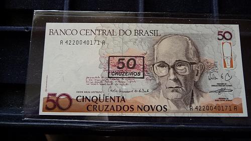 BANCO CENTRAL DO BRASIL QUINHENTOS CRUZADOS NOTE IN SLEEVE UNC CONDITION C-21-21