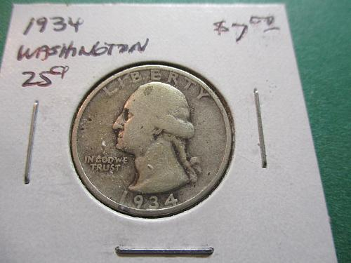1934  G4 Medium Motto Washington Quarter.  Item: 25 W34-12.