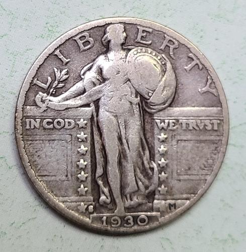 1930-S Standing Liberty Quarter Fine-12 Decent Light Grey Silver Patina