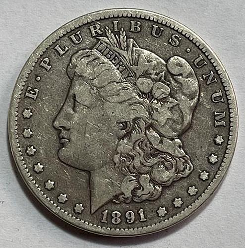 1891 CC Morgan Dollars Early Silver Dollars. 3534