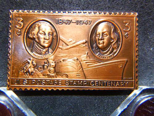 WASHINGTON / FRANKLIN 1847-1947  BRONZE US POSTAGE STAMP 3 Cent Postage Stamps