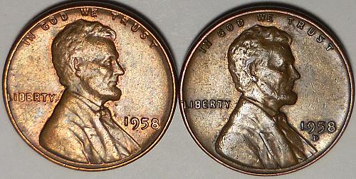 Lincoln Wheat Cents 1958-P 1958-D