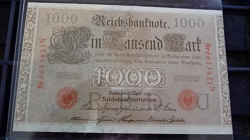 21-APRIL-1910 GERMANY 1000 MARK NOTE SERIAL #-6613421-N #-1 IN VF/XF CONDITION