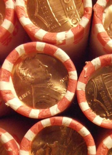 2021 P Lincoln Shield Cent, One BU roll from a bank box