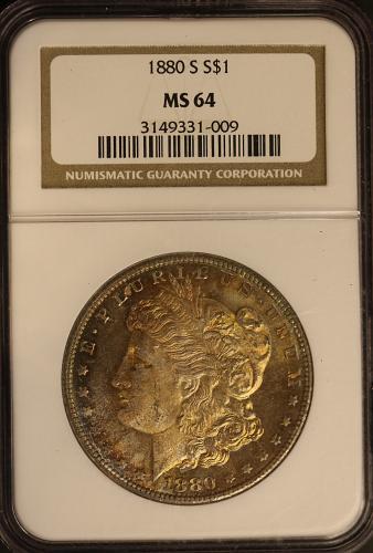 1880-S Morgan Silver Dollar NGC MS64 **TONING**