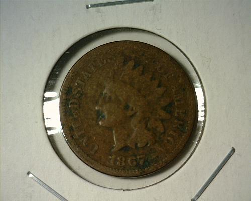 1867  INDIAN HEAD CENT  CIRCULATED  NICE LOOKING COIN!!