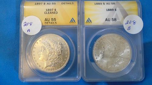 TWO MORGAN DOLLARS 1897 AU 55 &1889 AU 58 Iten # 208 A and 208 B