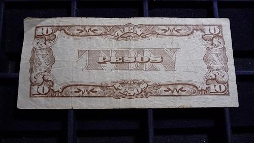 THE JAPANESE GOVERNMENT TEN PESO NOTE F/VF CONDITION  C-26-21