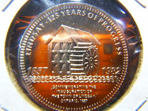 LINDSAY 125 YEARS 1857-1982 ONE DOLLAR TOKEN