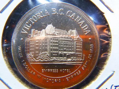 VICTORIA BC CANADA EX[RESS HOTEL 1978 ONE DOLLAR TOKEN