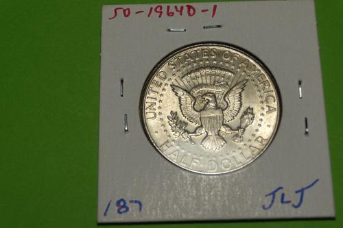 1964D DDO Kennedy Half Dollar  AU58  #50-1964D-1