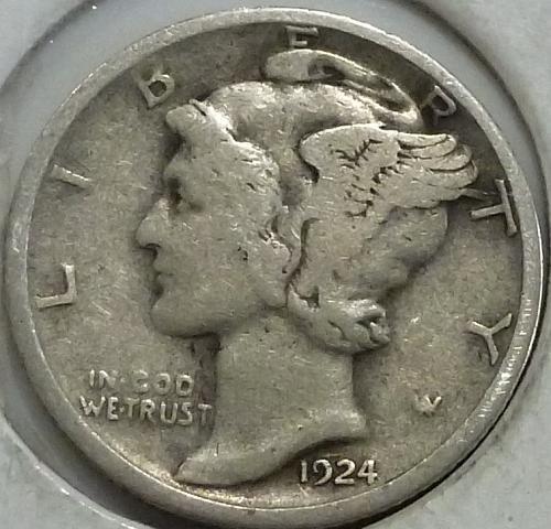 1924-D Very FINE Mercury Dime   ( 249-S)