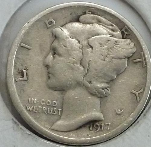 1917-S Extra Fine  Mercury Dime FINE  XF ( 249-D )