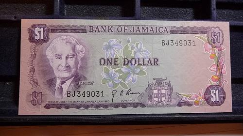 1967 BANK 0F JAMAICA ONE DOLLAR UNC NOTE  C-27-21