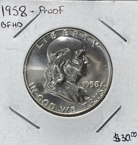1958-P High Grade PROOF Franklin US Silver Half Dollar $.50