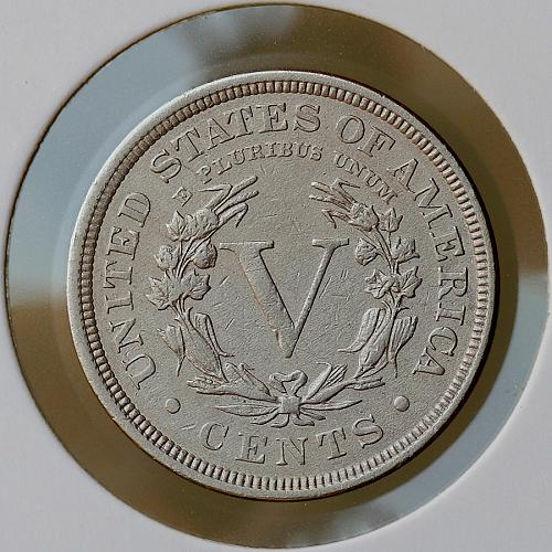 1891 Liberty Head V Nickel - AU / Almost Uncirculated