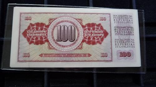 1986 YUGOSLAVIA 100 DINARA NOTE IN UNC CONDITION  C-27-21