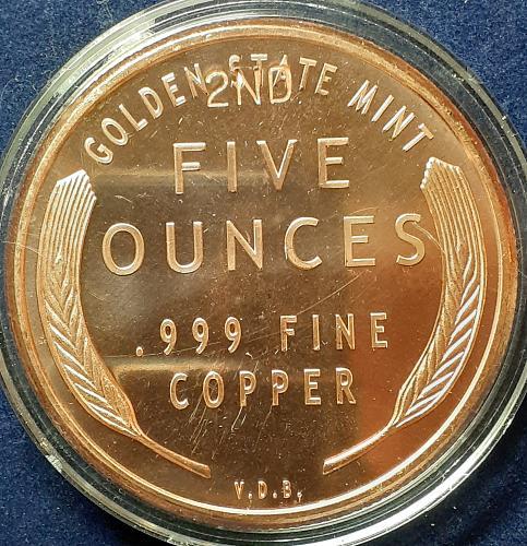 *  5oz Copper Round *  1909 S VDB Lincoln Wheat Penny Design