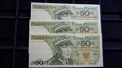 1988 POLAND NARODOWY BANK 3 SEQUENTIAL NOTES IN UNC CONDITION  C-27-21