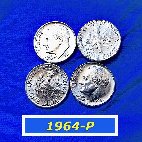"1964-P BU Dimes ☆  Very Nice ""Uncirculated"" Coins  ☆  (3207)"