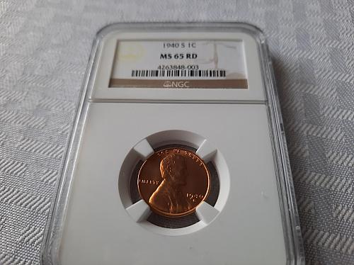 1940 S BU Lincoln Cent, NGC MS 65 Red $19.50 with free shipping