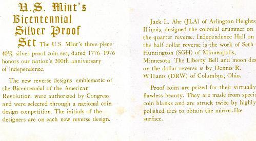 1776 - 1976  Bicentennial  3  -  40%  SILVER Coins  PROOF  SET  W/  COA