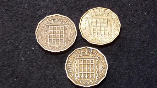 1955-1960-1965  GREAT BRITIAN THREE PENCE COINS C-30-21