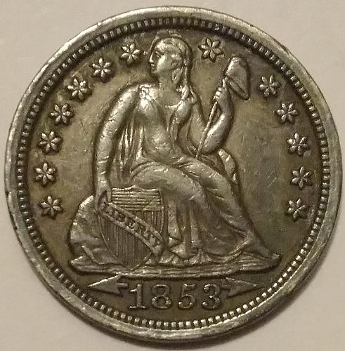 Scarce 1853-P with arrows, Gorgeous AU+ details and toning
