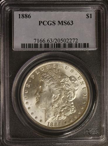 1886 Morgan Silver Dollar PCGS MS63