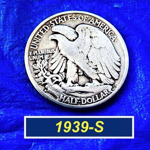 "1939-S Walking Liberty Half ⭐️  90% Silver  ⭐️  ""VF-20/25"" ⭐️ (1132)"