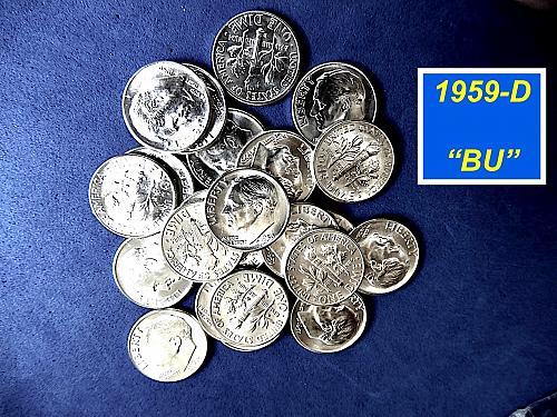 "Blazing 1959-D  ""BU""  Dime   ⭐️  Gorgeous Coin     ⭐️   (3949)"