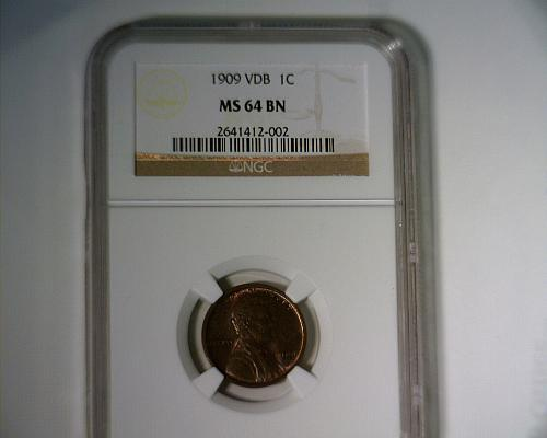 1909 VDB LINCOLN CENT  NGC  MS-64 BN  NICE LOOKING COIN!!